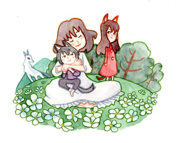 Illustration des enfants loups Ame et Yuki