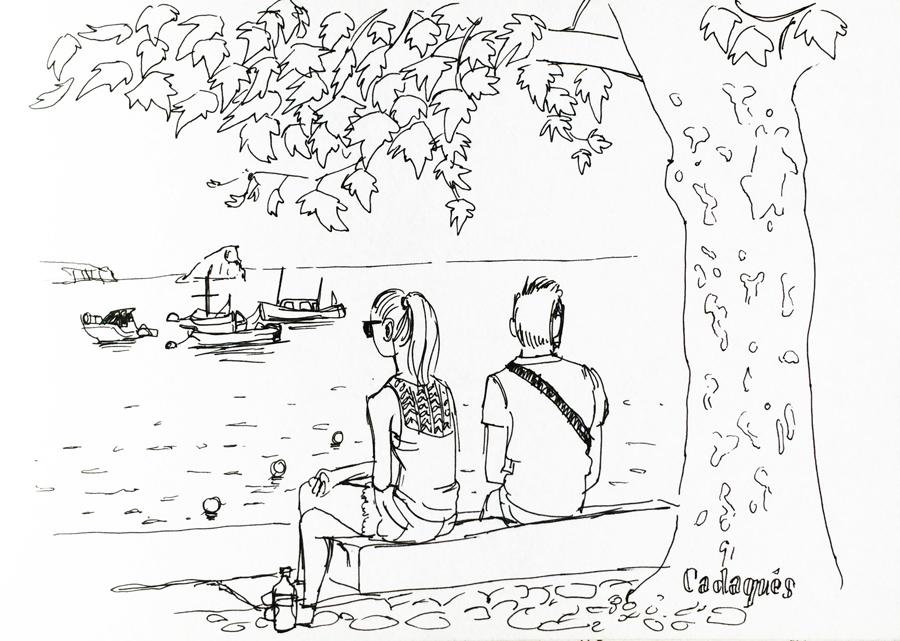 cadaques-dessin-port-touristes