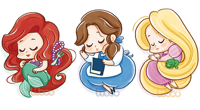 Les petites princesses Disney endormies – Cute sleeping Disney princesses
